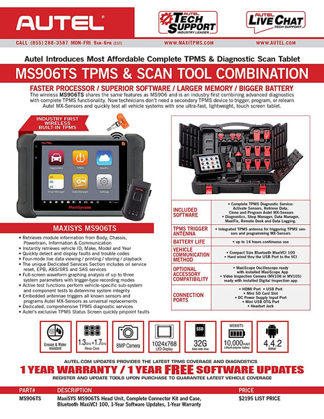 Original Autel MaxiSys MS906TS TPMS & Advanced Diagnostic Tool