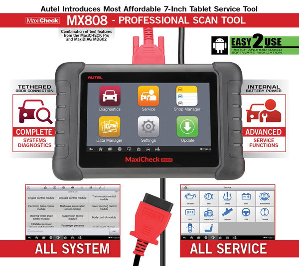Autel MaxiCheck MX808 - Free Lifetime Software Updates - Electromann SA