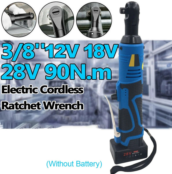 18v 90N.m 3/8'' Cordless Electric Ratchet Wrench Right Angle Tool