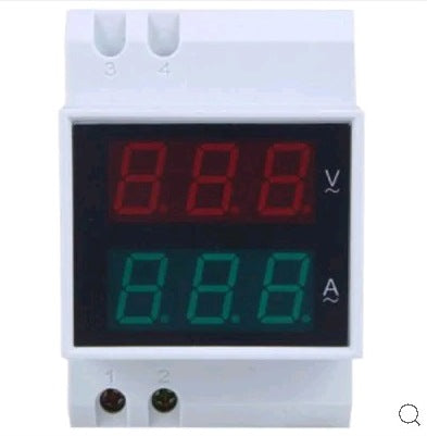 Dual Display Digital Din Rail Current and Voltmeter - Electromann SA