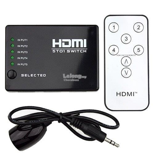 HDMI 5 in to 1 out Video Switch with Remote - Electromann SA