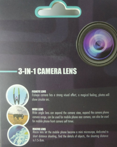 3-in-1 Camera Lens For Mobile Phone