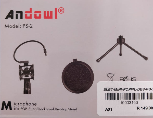 Andowl Mini Microphone POP Filter + Desktop Stand