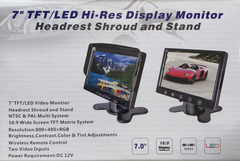 "7"" TFT/LED Hi-Res Display Monitor"