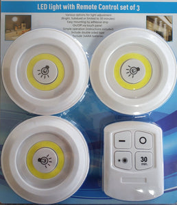 Remote Controlled 3Pack Led Button Light