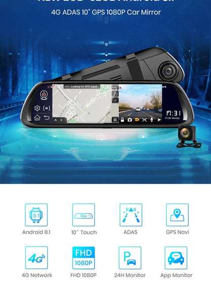 JUNSUN A9602 1080P 4G 3G 2G WiFi bluetooth Android 8.1 ADAS Car DVR with Rear View Camera