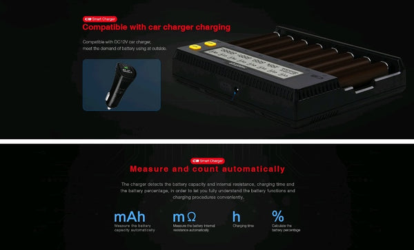 Miboxer C8 8 Slots Rapid Smart 18650 Battery Charger
