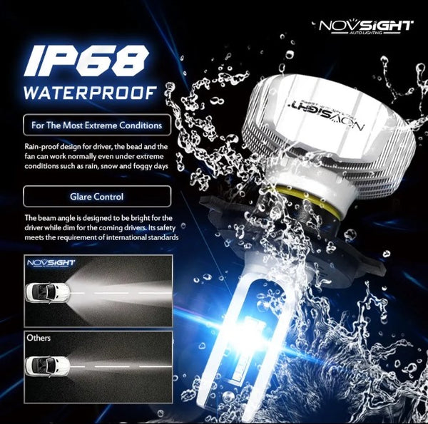 NovSight A500-N15 50W 10000LM LED Car Bulbs 6500K - H7