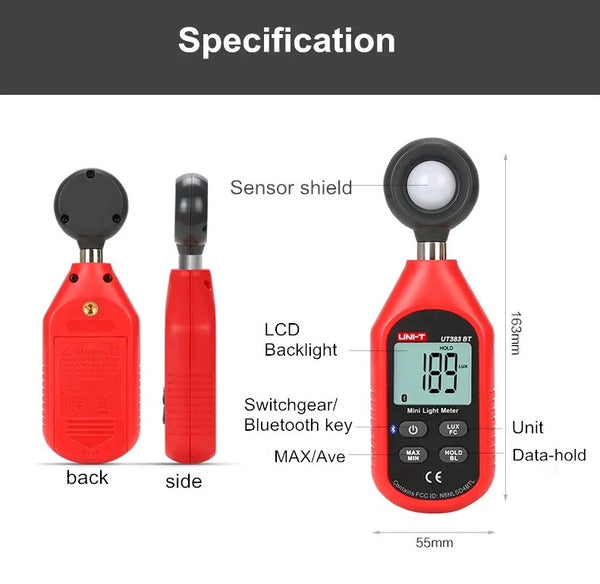 UNI-T UT383BT bluetooth Digital Luxmeter