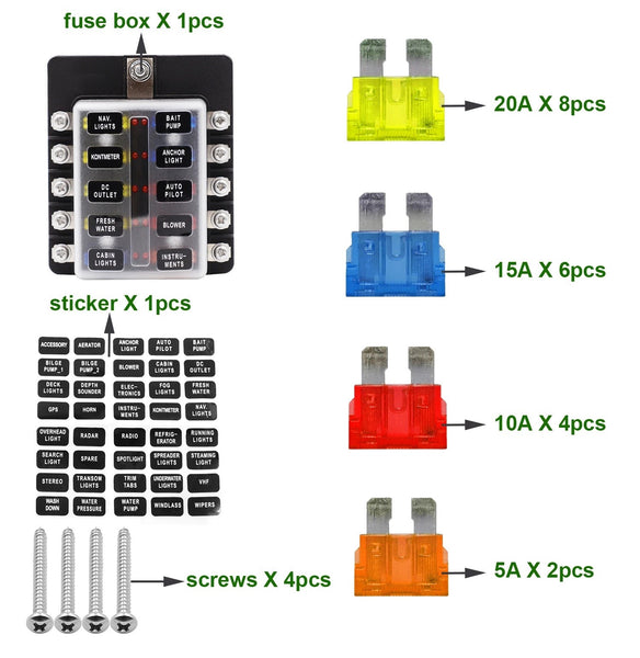 10 Way Fuse Box with Blade Block Holder Kit