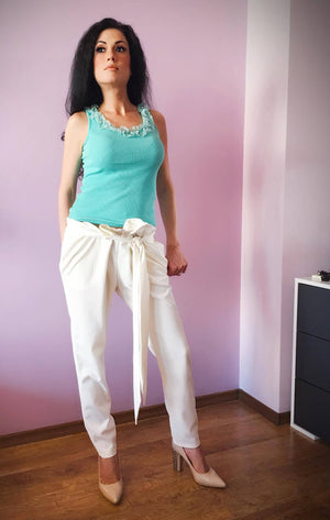 white harem pants