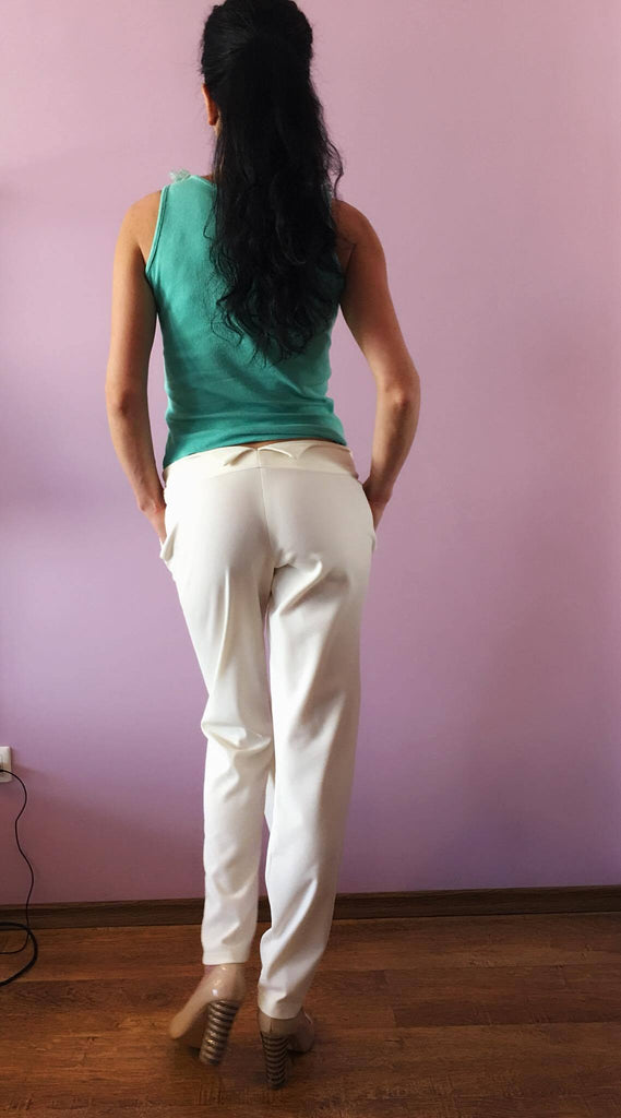 White harem pants /Loose Harem Pants / Drop Crotch pants/ Summer full-bottomed breeches/ Extravagant pants