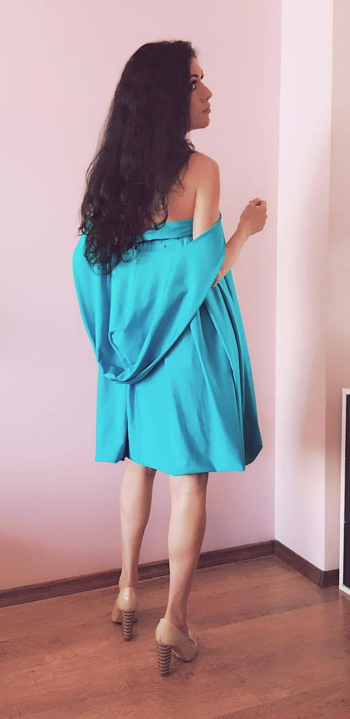 Turquoise tunic dress /Maxi tunic top / Casual Loose Dress / Pleated dress / Open Shoulder dress/ Hooded Summer Dress / Festival Clothing