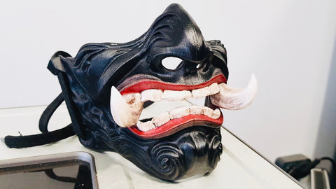 Knight Samurai Mask / Japanese Hannya Evil Mask / Black Kabuki Airsoft Mask