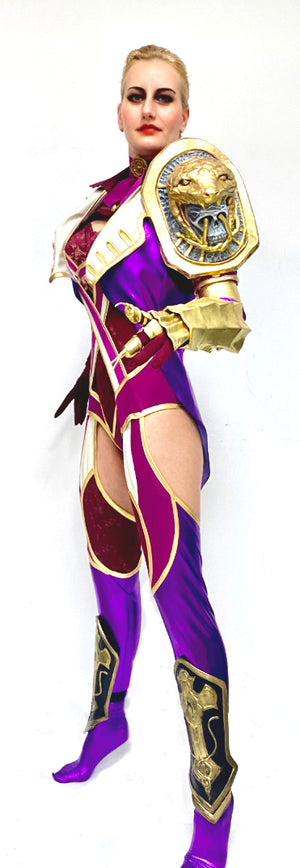 Soul Calibur Ivy full cosplay costume - leotard, gloves, shinguards, snake head, gloves, nails