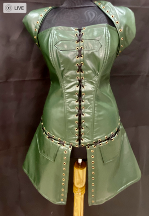 Green viking corset with hoodie / Medieval corset / Elf corset with skirt and hood