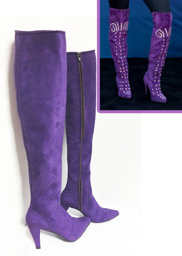 Purple suede Thigh High boots/Selena boots/ High heel suede boots/Stage boots/ Custom order