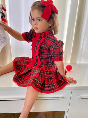 Red Tartan girls dress / Baby Dress / Tartan dress / Girls Christmas dress / Newborn Dress / Birthday Dress / Toddler Dress /Plaid Dress
