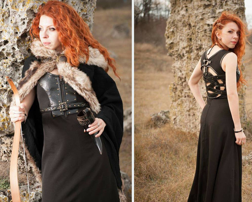 Celtic dress/Viking costume/Viking dress and mantle with fur/Medieval clothing/Game of Thrones inspired costume