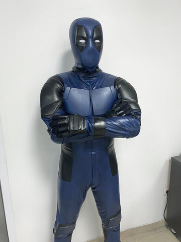 Blue Deadpool costume with mesh weathering,made to individual measurements with FULL shell mask
