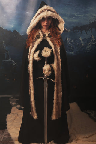 Celtic dress/Viking costume/Viking dress and mantle with fur/Medieval clothing/Game of Thrones inspired costume/