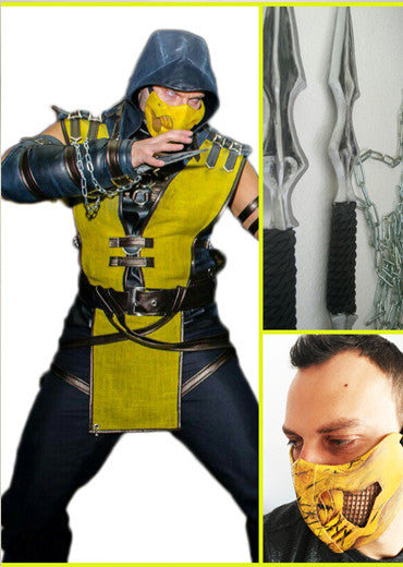 Mortal Combat Scorpion complete cosplay costume with weapons, mask and boots