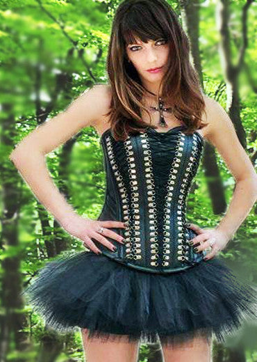 Black drelack leather corset with studs/Gothic corset/Gothic dress/Show girl outfit/Tutu/Tutu skirt