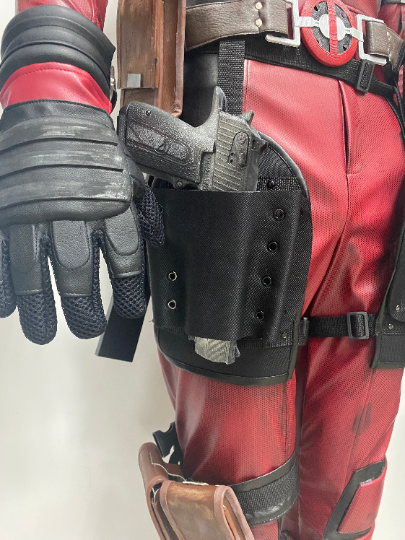 Deadpool 2 DELUXE movie costume with MESH weathering, genuine leather pouches and cut gun holsters, weapons and katana holder