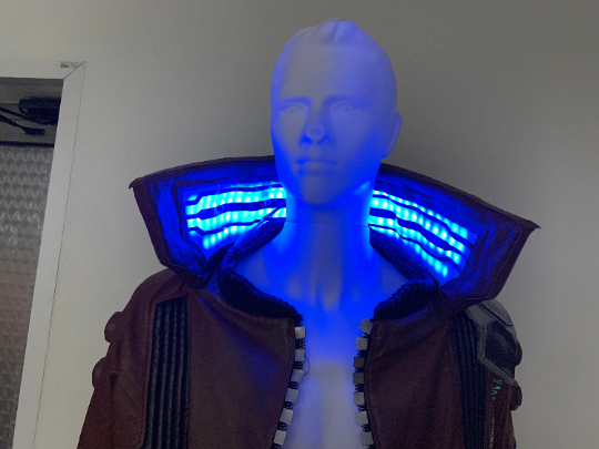 Cyberpunk inspired jacket with led collar
