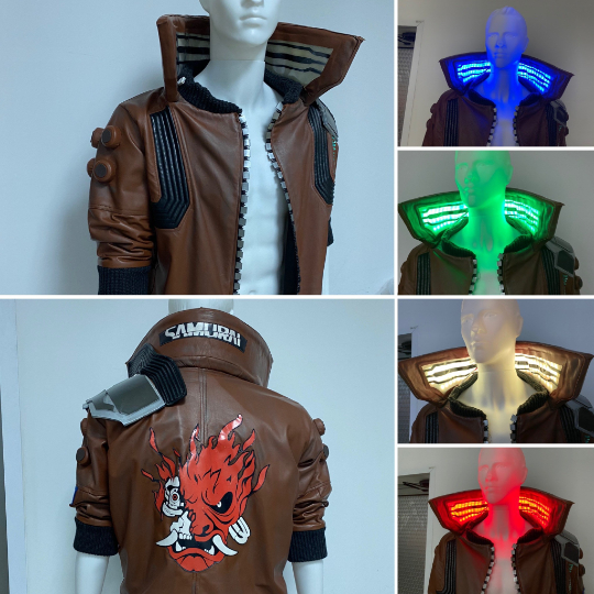 cyberpunk jacket with led collar