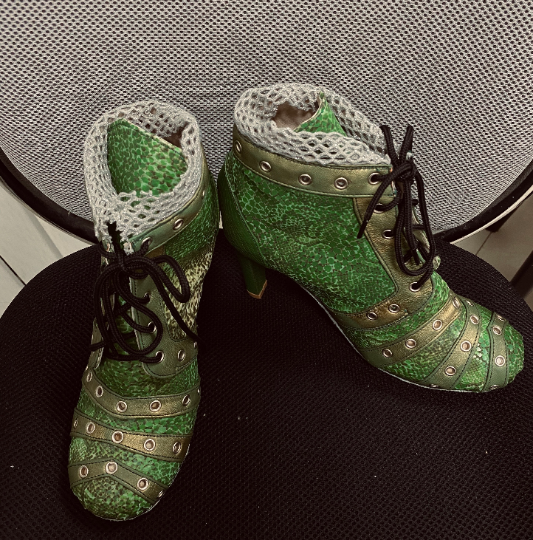 Green Snakeskin boots / Green ankle high Kinky boots