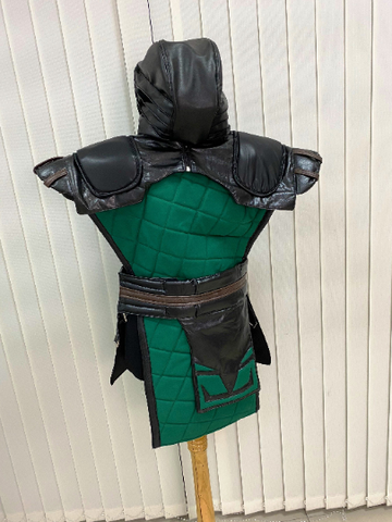 Mortal Kombat Reptile 11 costume / tabard with belt hood and shoulder pads