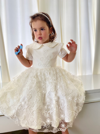 White girl dress / Short sleeve lace girls dress / Christening dress / Baptism dress / Flower Girl dress / Toddler