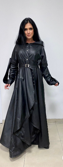 Long extravagant leather womens coat