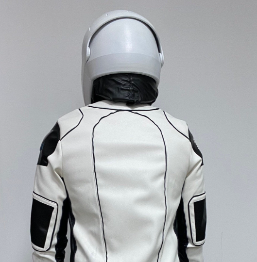 Custom Space X costume and helmet with transparent visor in green, red and yellow