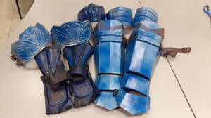 Sub Zero armor wristabands, shins, biceps belts, mask