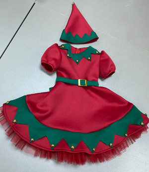 Girls Christmas dress / Christmas elf baby dress / Elf costume / Toddler Christmas elf costume , Holiday dresses / Family photo dress / Elf