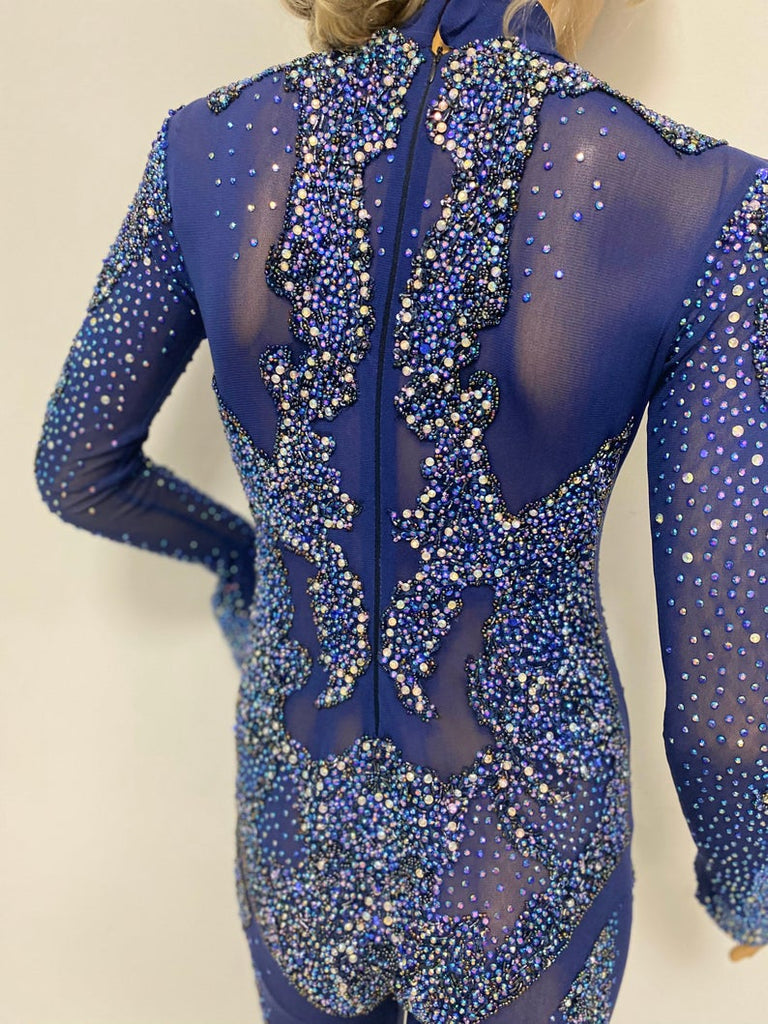 Rhinestone ladies leotard / Lady Gaga rhinestone embellished costume/ Rhinestone stage bodysuit Lady Gaga