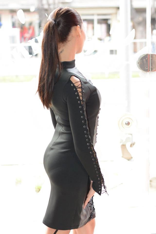 Designer leather dress/Black leather dress/Sexy leather dress/Black fashion/Long sleeve leather dress/ Midi dress/Cocktail dress
