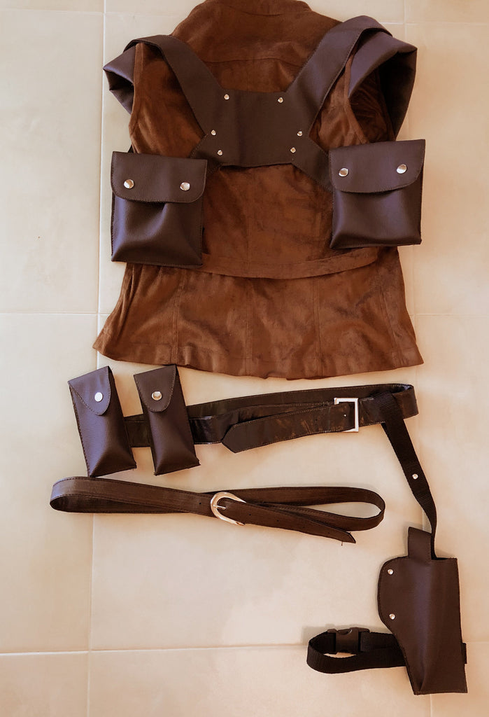 Cosplay shoulder harness / Cosplay shoulder holster/ Helena Harper ammo pockets/ Leather bags/ Patron cases