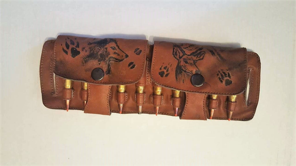 Hunting ammo pockets w/ deer painting decoration/ Hunters cartridge carrier/ Leather Bandoleer Cartridge Bags/Cartridge Holder Bullet Pouch
