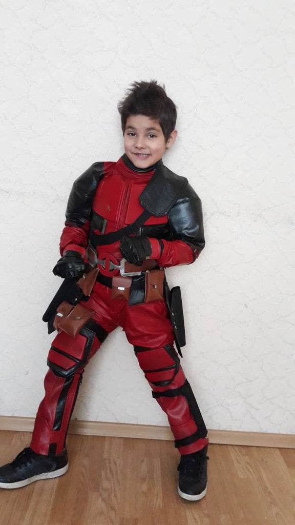 Kids Deadpool cosplay costume ,made to individual measurements with FULL or HALF shell mask/Deadpool complete kids costume/Deadpool shell