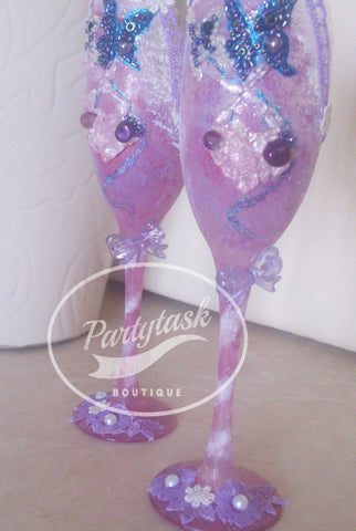 Purple Champagne glasses