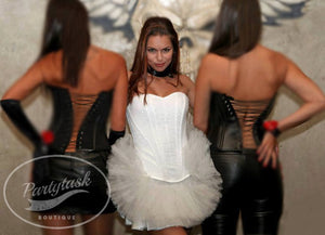 White corset dress/ White dress/Bridesmaid short dress/Show girl outfit/White tutu dress/ Black tutu dress/Black and white corset