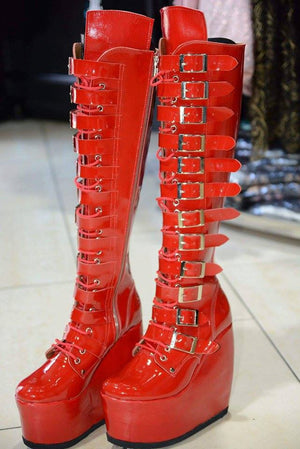 red patent platform boots