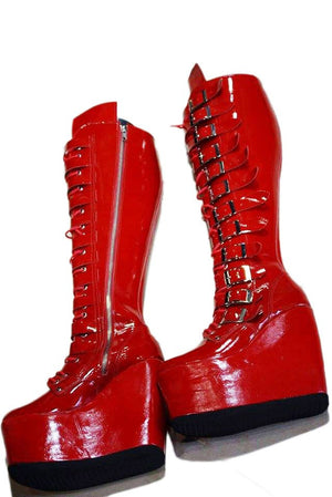 Red leather boots/Patent leather boots/Red lacquer boots/