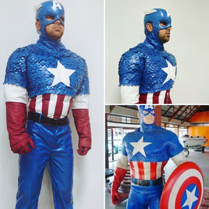 Captain America costume with muscle suit and 3D flakes