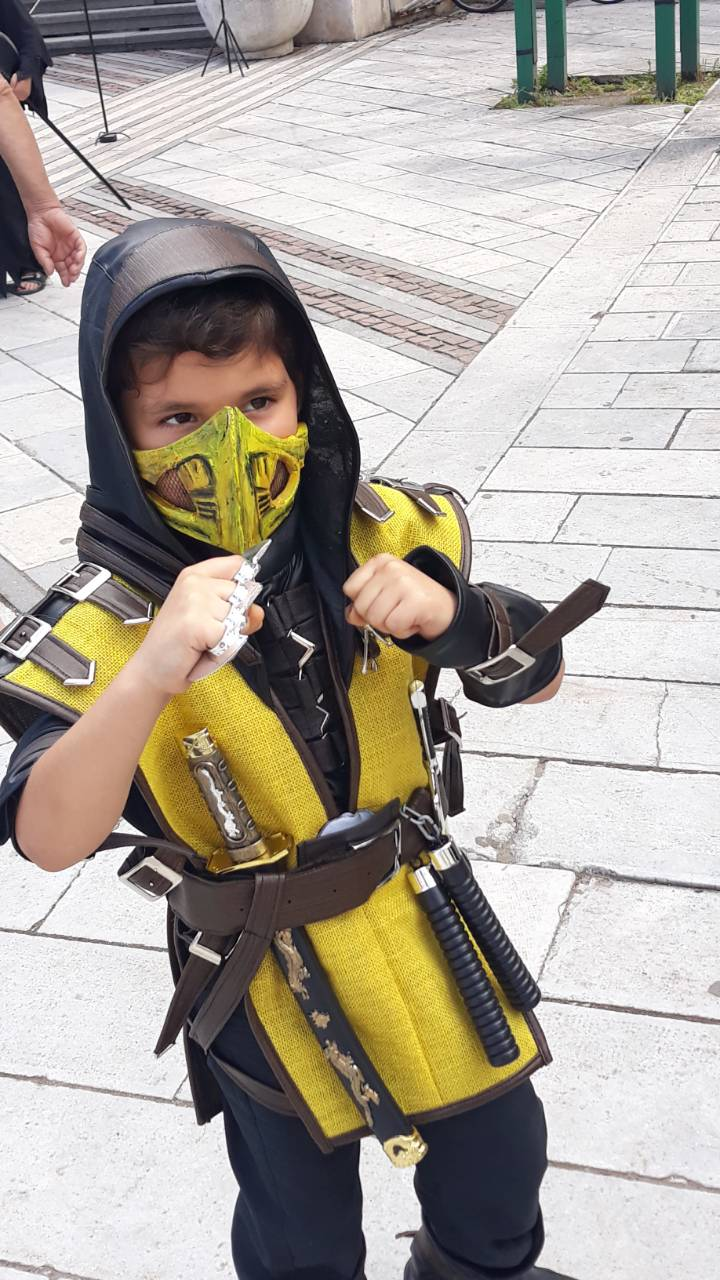 Kids Mortal Kombat Scorpion Cosplay Costume With Mask Included
