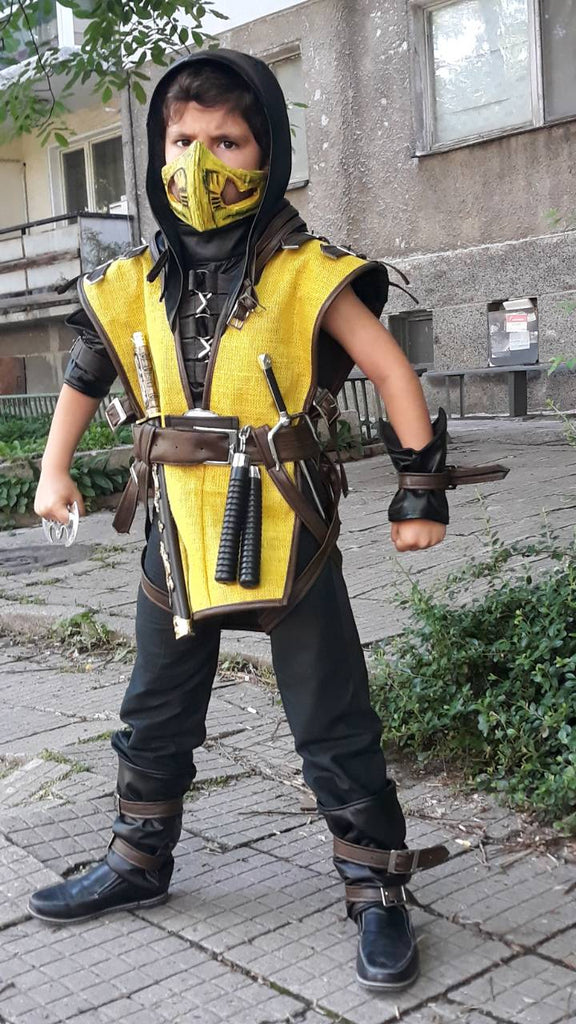 Kids Mortal Kombat Scorpion Cosplay Costume With Mask Included Scorpio Partytask Boutique