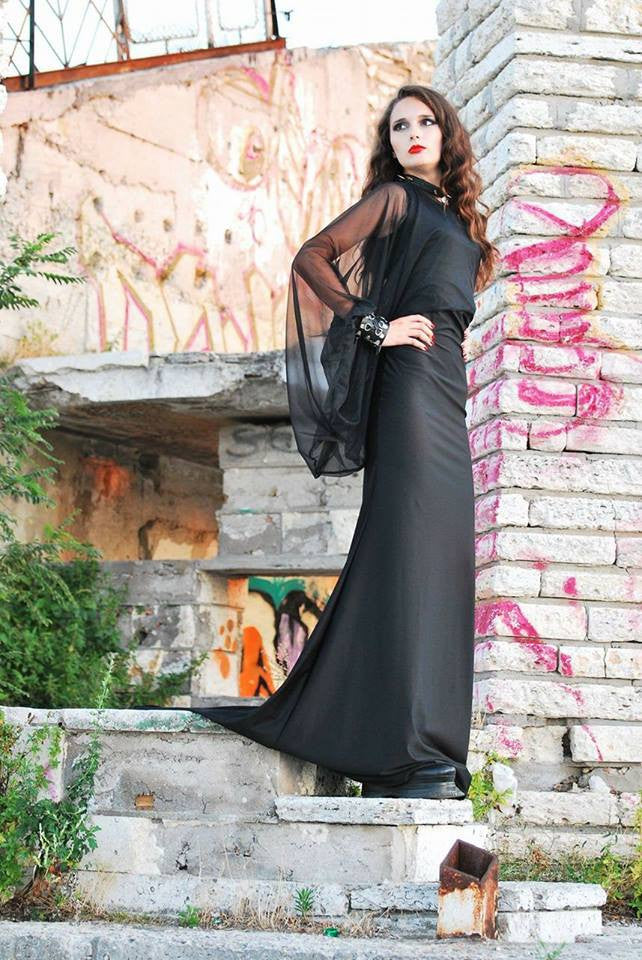Morticia dress/Witch dress/Gothic dress/Steampunk fashion/Medieval ...